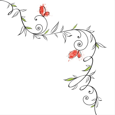 Romantic stylized floral design with butterflies