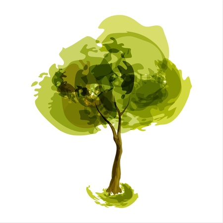 single tree: Abstract illustration of stylized summer tree