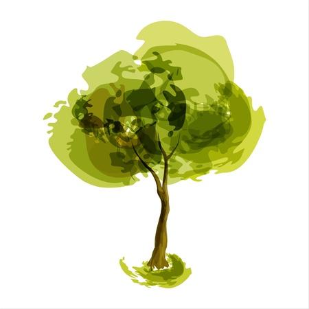 Resumen de la ilustración, árbol, verano estilizada Vectores
