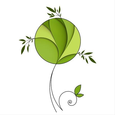 Stilisierte grünen Baum Zusammenfassung Symbol Standard-Bild - 14167375