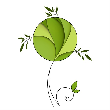 Stylized green tree  Abstract icon Illustration