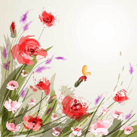 Background with meadow flowers  Poppy Vector