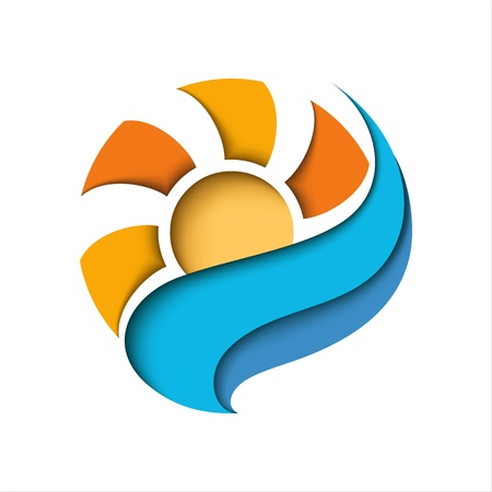 Abstract sun in a blue cloud  Stylized illustration