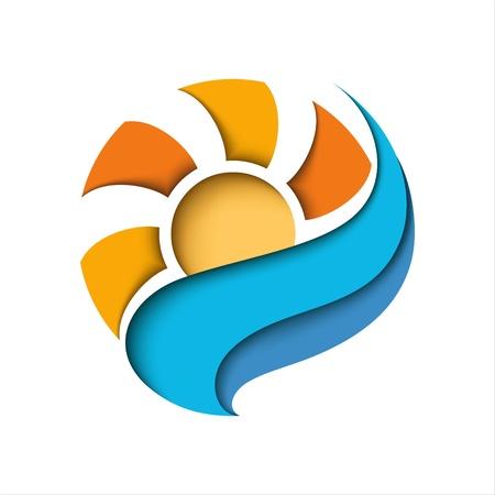 Abstrakte Sonne in einer blauen Wolke stilisierte Darstellung Standard-Bild - 14317267