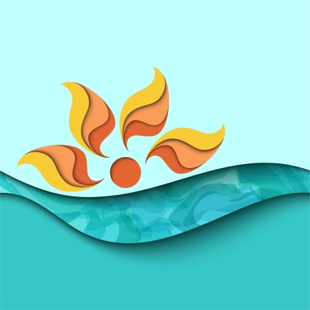 Summer sunset  Sea waves background Vector