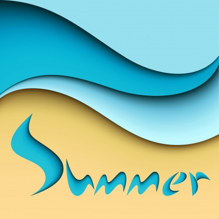 Sea beach background with inscription summer Vector