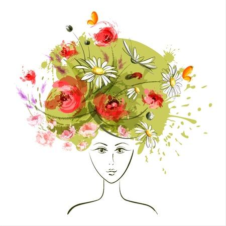 retratos: Abstrato do ver�o da menina de flor EPS10