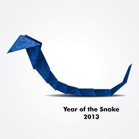Year of the Snake design  Blue origami snake  Vector