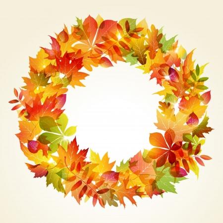 Autumn design  Wreath of colorful leaves