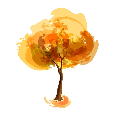 arboles de caricatura: Resumen de la ilustraci�n estilizada temporada de oto�o del �rbol
