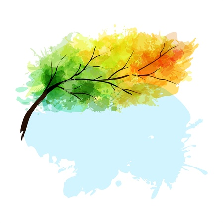 Abstract colorful autumn tree branch Stock Vector - 14558314