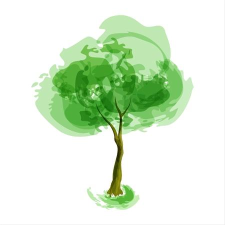 vida natural: Resumen de la ilustración estilizada temporada primavera árbol