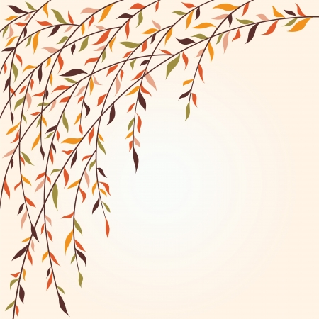 willow: Stylized tree branches with leaves  Autumn Illustration