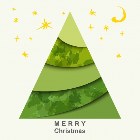 Christmas card with Christmas tree and stars Stock Vector - 15734662