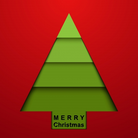 Paper christmas tree on red background  Card Vector