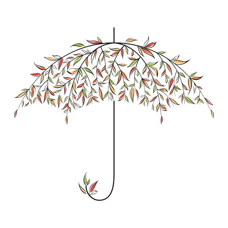 Decorative autumn umbrella made of leaves Stock Vector - 15734657