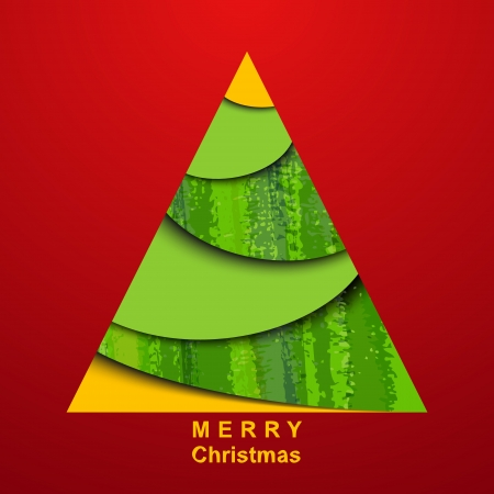 Paper christmas tree on red background  Card Stock Vector - 15734667