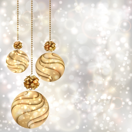 Christmas background with gold balls  EPS10 Иллюстрация