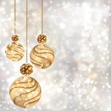 Christmas background with gold balls  EPS10 Illustration