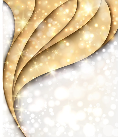 Golden and silver Christmas background with lights and stars   Illustration