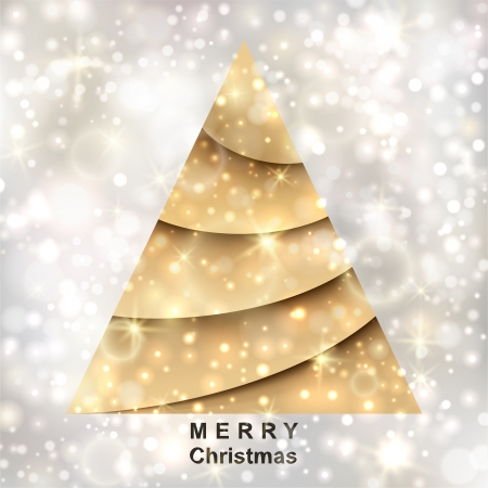 Golden Christmas tree on silver background Stock Vector - 16412934