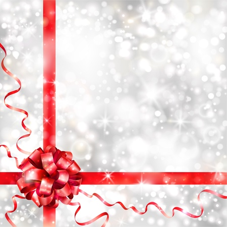 christmas shopping: Silver background with red bow