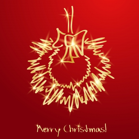christmas spirit: Golden Christmas wreath on a red background