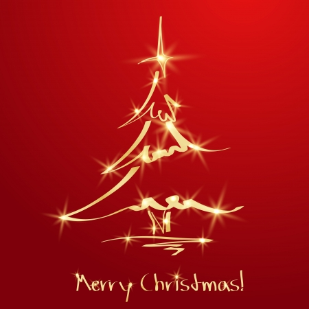 christmas trees: Golden Christmas tree on red background