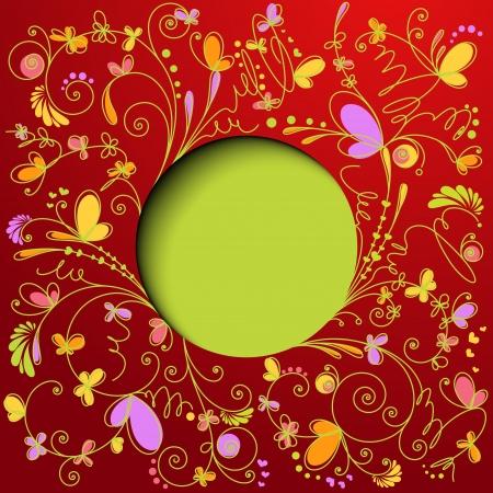 Retro floral background  Greeting card Illustration