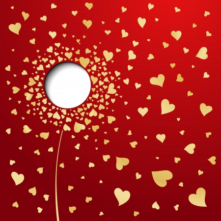 Golden hearts on red background  Abstract flower Vector