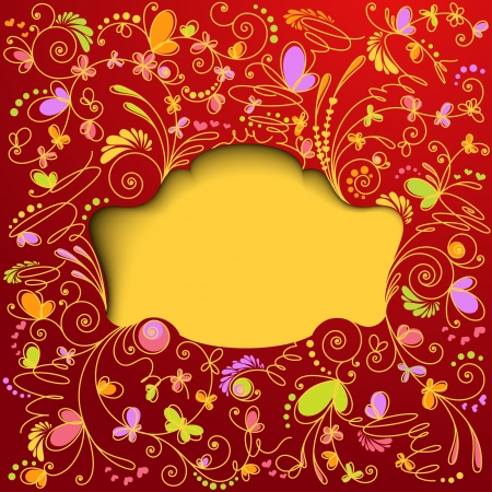 Red floral background  Decorative frame Vector