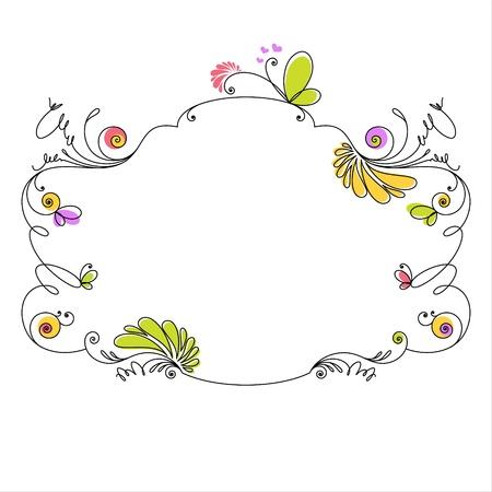 felicitation: Decorative floral frame on white background