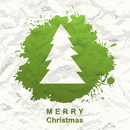 Painted Christmas tree  Crumpled paper  Vector