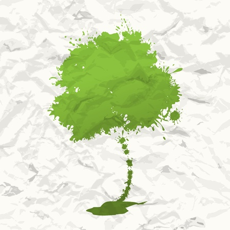 Abstract green tree  Crumpled paper Stock Vector - 16808446