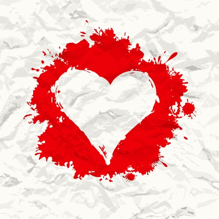 Red painted heart  Crumpled paper   Vector