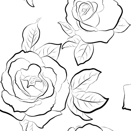 modern garden: Roses seamless wallpaper  Black and white pattern