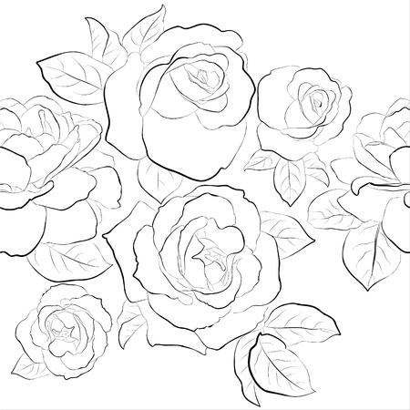 Roses  Seamless  black and white pattern   Illustration