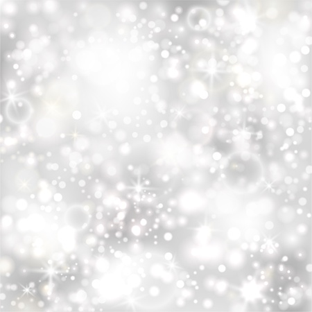 Silver background with stars and twinkly lights  EPS10