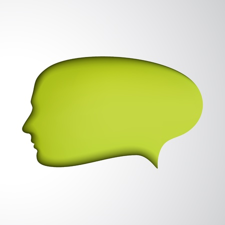 Green speech bubble  Concept face  Idea Vector