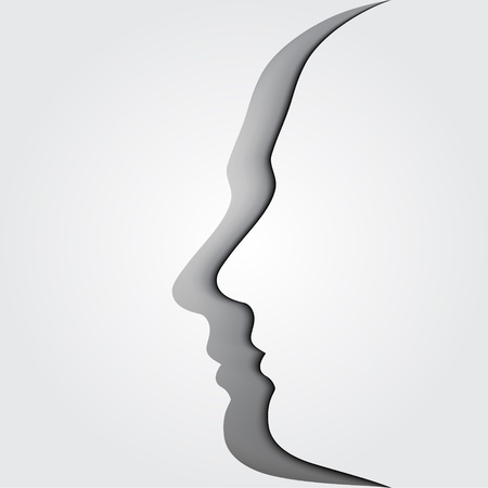 counseling: Conceptual illustration of head silhouettes  Brainstorm   Illustration