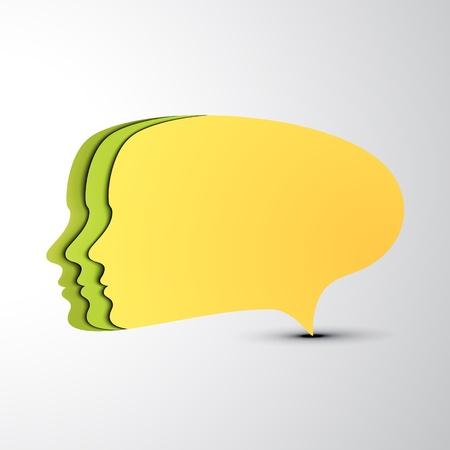 Yellow speech bubble  Concept faces  EPS10