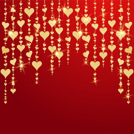 Valentines day card with hanging golden hearts  EPS10 Stock Vector - 17126630