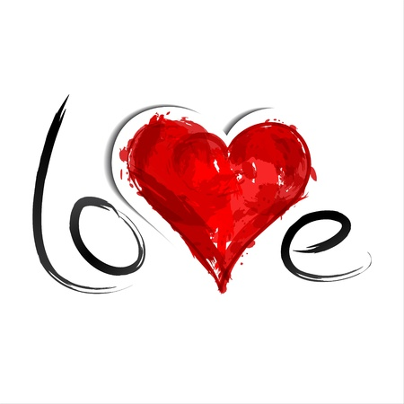 Red painted heart  Inscription Love Illustration