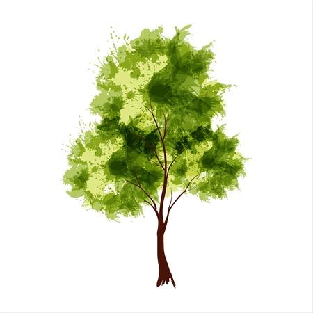 Ilustración vectorial de árbol estilizado verano