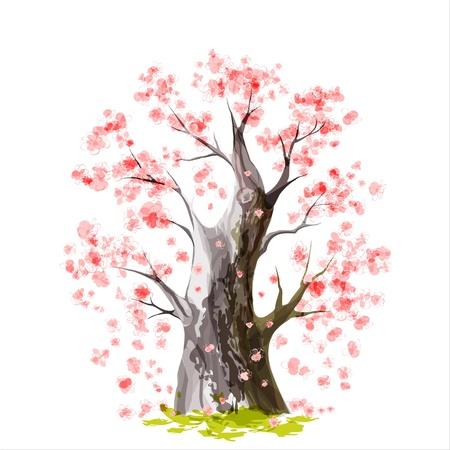 arbol de pascua: Estilizada Blooming cherry tree japonés