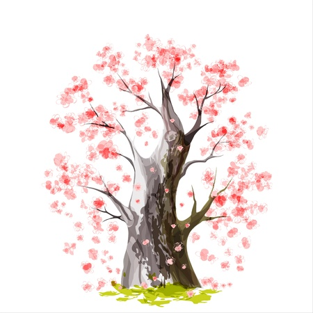 peach tree: Stylized Blooming Japanese cherry tree