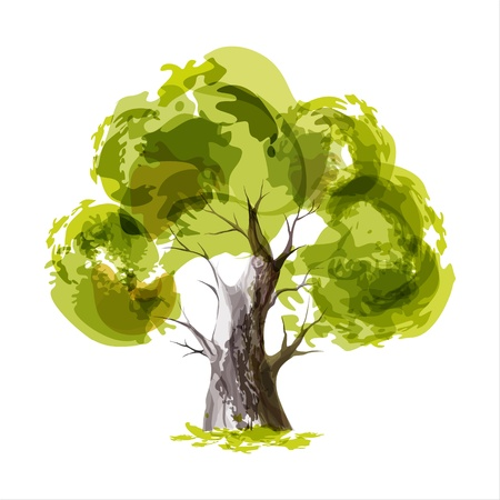 single tree: Abstract illustration of stylized green tree Illustration