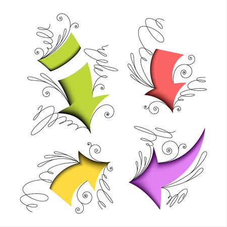 Colorful arrows with calligraphic elements  Set Stock Vector - 17531676