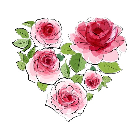 Heart of pink roses  Watercolor vintage Vector