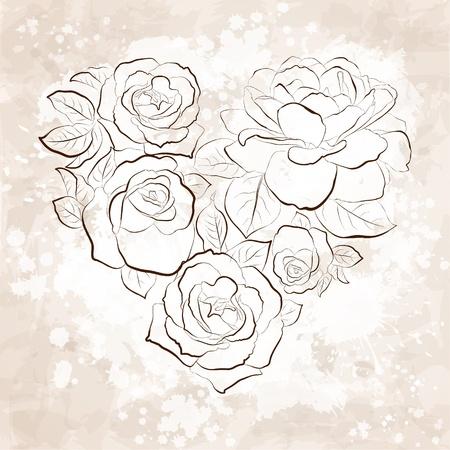 Rosas en forma de una tarjeta de corazón estilo vintage Ilustración de vector